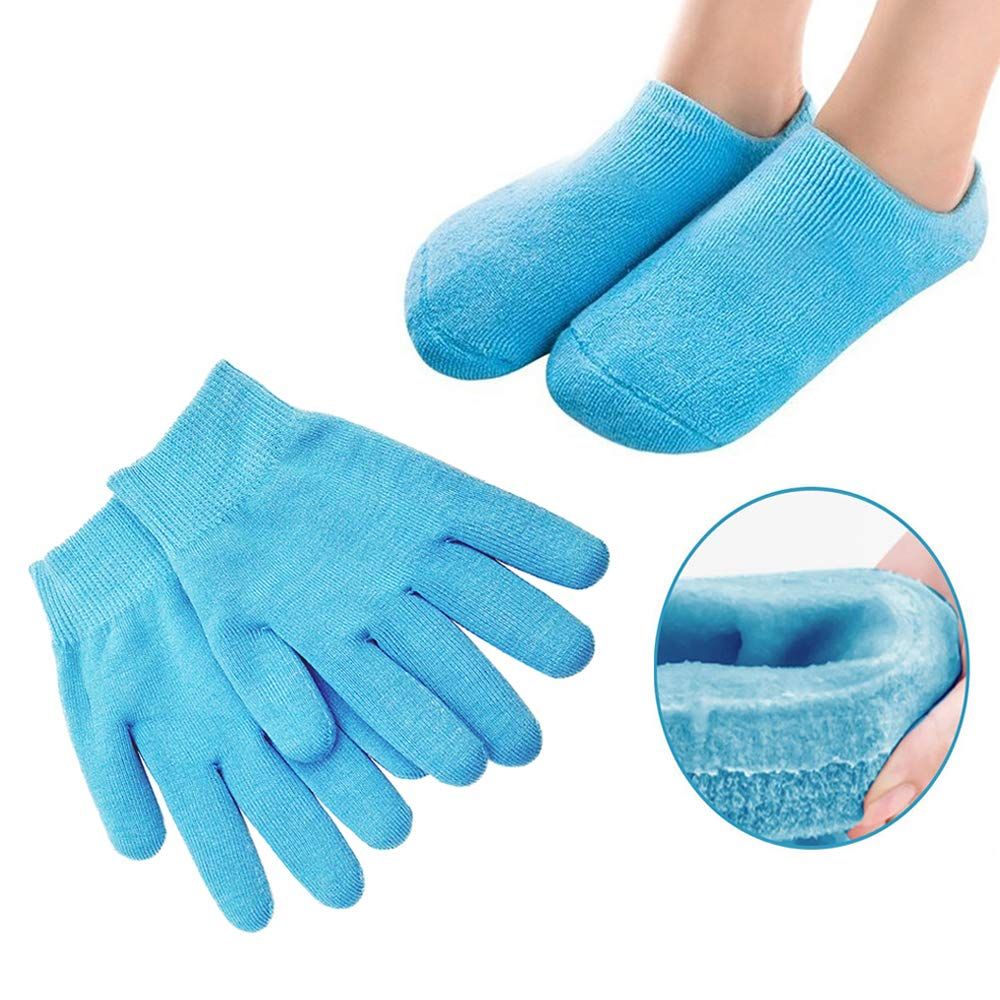 Pinkiou Moisturizing Gloves Socks Set Gel Spa for Moisturize Soften Repairing Dry Cracked Hands Feet Skin Care Silicone inside–Blue : Beauty