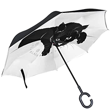 ALAZA gato negro silueta en color blanco paraguas invertido doble capa resistente al viento Reverse paraguas