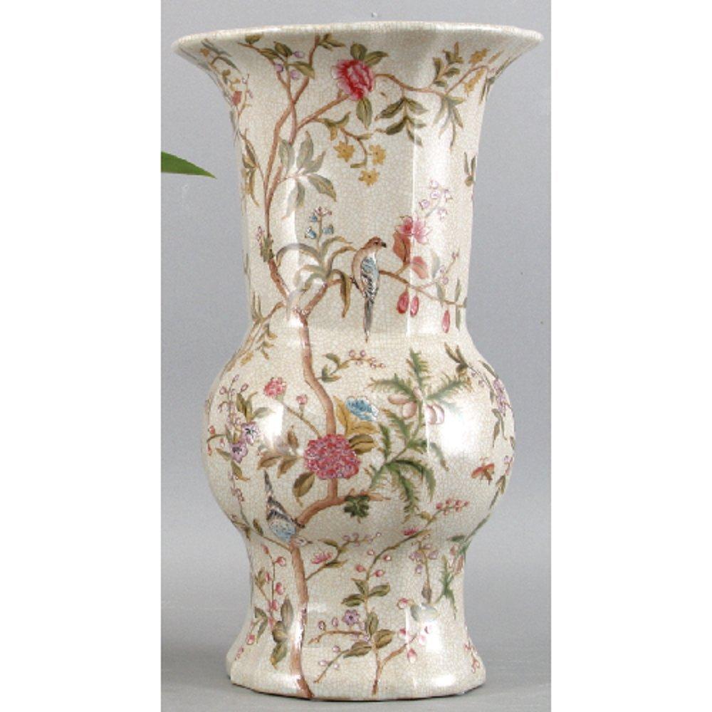 Home decor. Ivory Vase. Dimension: 8 x 8 x 14. Pattern: Emma Garden.