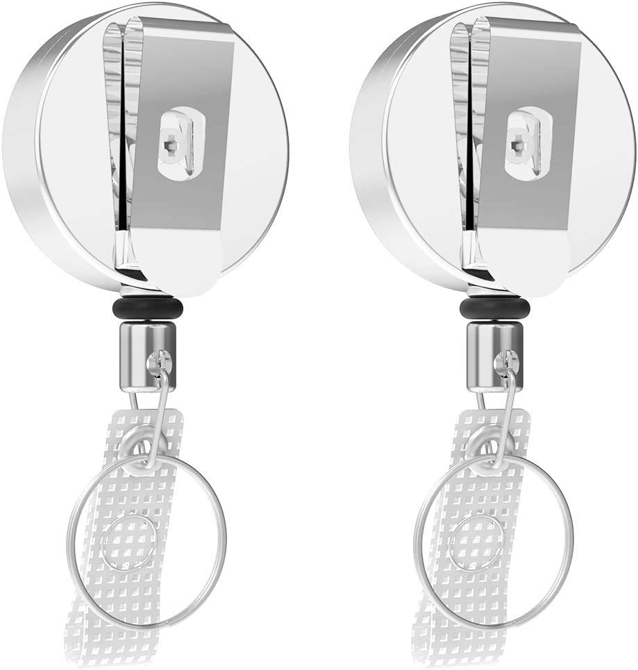 2Pack Heavy Duty Metal Retractable Badge Holder Reel with Belt Clip RAGZAN Retractable Key Chain Ring and ID Holder Office Helper for Officer/Nurse/Doctor[27.5 inches Steel Wire Cord]
