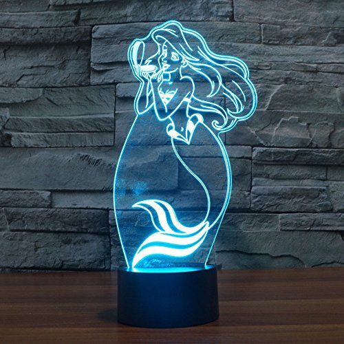 Comics+3D+Night+Lamp+ Products : Mermaid Acrylic 3D Led Night Light Table Lamp Usb Touch Switch Girls Xmas Gift