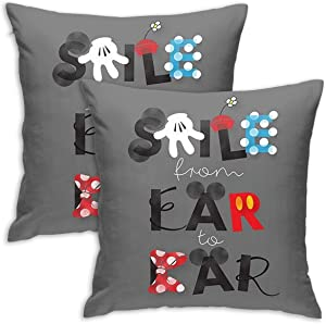 BSUDILOK Pack of 2 Polyester Pillow Case Cushion 18x18 Inchs Mickey Mouse-Smile from Ear to Ear Standard Pillowcases Throw Pillow Cover for Kid Gifts Sofa Bedding Home Decorative
