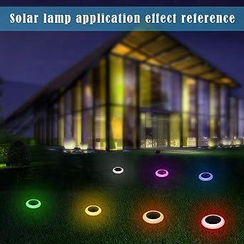 Danigrefinb luces de exterior, resistente al agua, funciona con energía solar, luz LED para el suelo que cambia de color para jardín o patio, White+black, talla única: Amazon.es: Iluminación