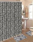 zebra fabric shower curtain - 15 Piece Zebra Animal Print Memory Foam Bath Rug Set Bathroom Rugs with Fabric Shower Curtain and Decorative Rings (Black White Zebra)