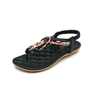 552f5254f2ae5 gracosy Women s Summer Sandals Low Flat Heel Post Thong Flip Flop Slippers  Comfy Beach Shoes Peep