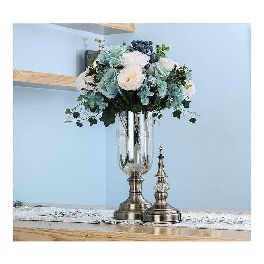 ガラス花瓶 ドライフラワー付きふた付き、軽く贅沢な水耕栽培用花瓶キャンディーテーブルガラス容器セット B07T3BDZLV