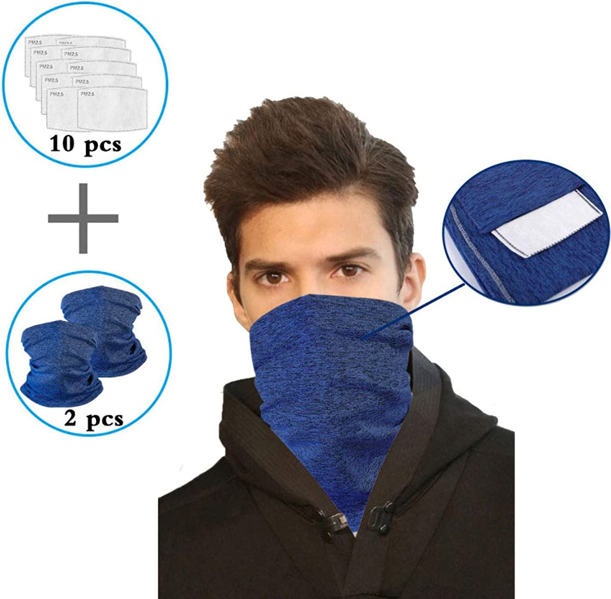 Dust Protection Breathable Hepa Headbands Washable Half Face Scarf Bandana Balaclava Neck Gaiter Headwear Face Cover for Saliva Filters Outdoors for Women