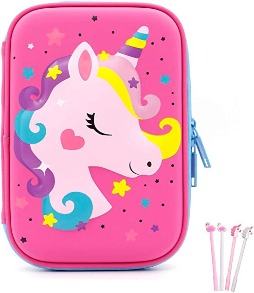 Pencil Case, iDelta 3D Cute EVA Unicorn Pen Pouch Stationery Box Anti-Shock Large Capacity Multi-Compartment for School Students Teens