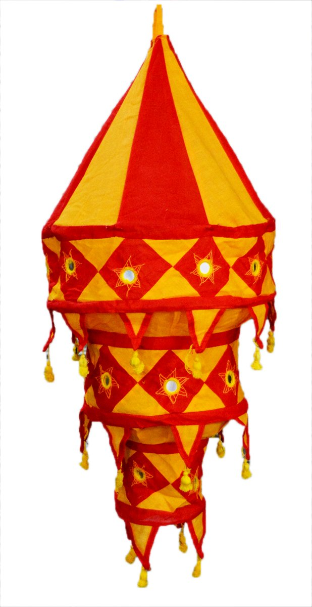 Indian Traditional Hanging Lampshade Embroidered Mirror Work Home Decorative 3 Layer Lamp