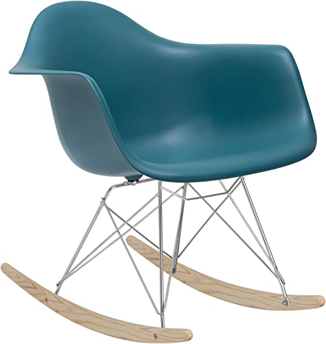 Poly and Bark Rocker Modern Mid-Century Rocking Molded Lounge Chair, Teal