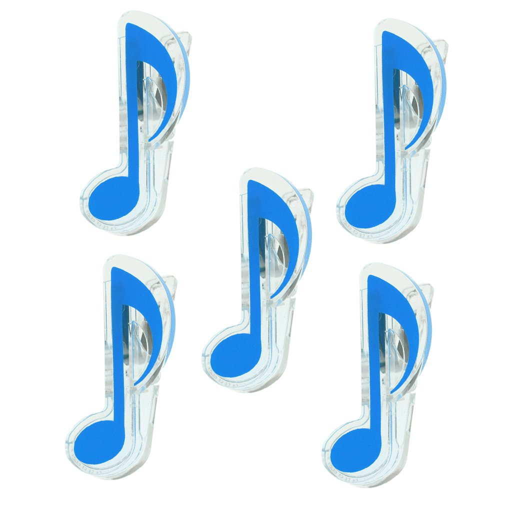 Homyl Pack of 5 Plastic Music Sheet Food Bag Book Page Clips Quaver Clips Stage Music Practice Accessory Blue
