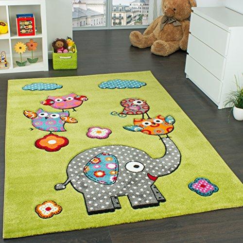 Kinderzimmer Teppich Niedliche Bunte Tierwelt Eule Elefant in Grün Blau Grau Rot, Grösse:80x150 cm