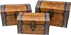Treasure Chest Paperboard Boxes (Set of 3), Decoration for Video Gamers, Birthday Parties, Medieval, Pirate Themes, Weddings, Storage or Display