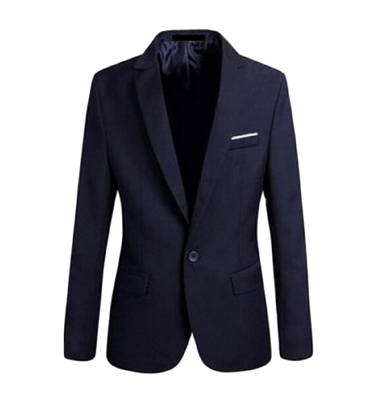 Abetteric Men's Outwear Solid Slim Fit Lapel Office Suit Jackets