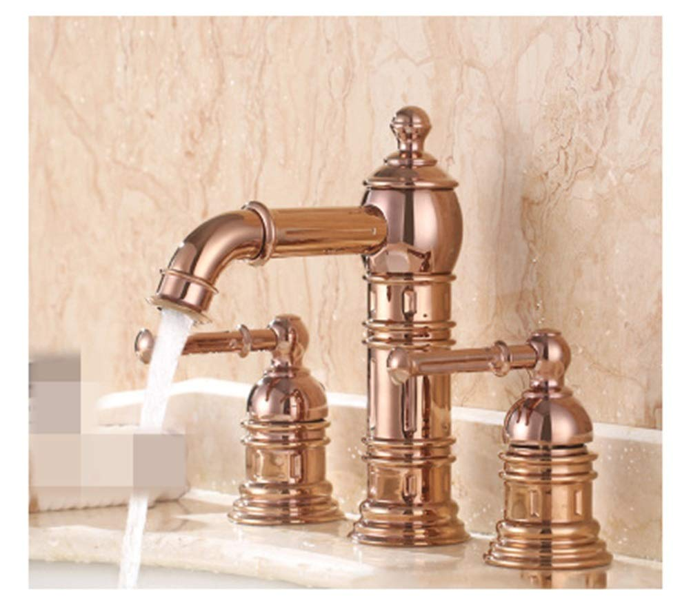 SGKJJ Sink Faucet Double Three-Hole Copper Basin Hot and Cold Water Pot Filling Faucet Three-Piece Gold-Plated Faucet