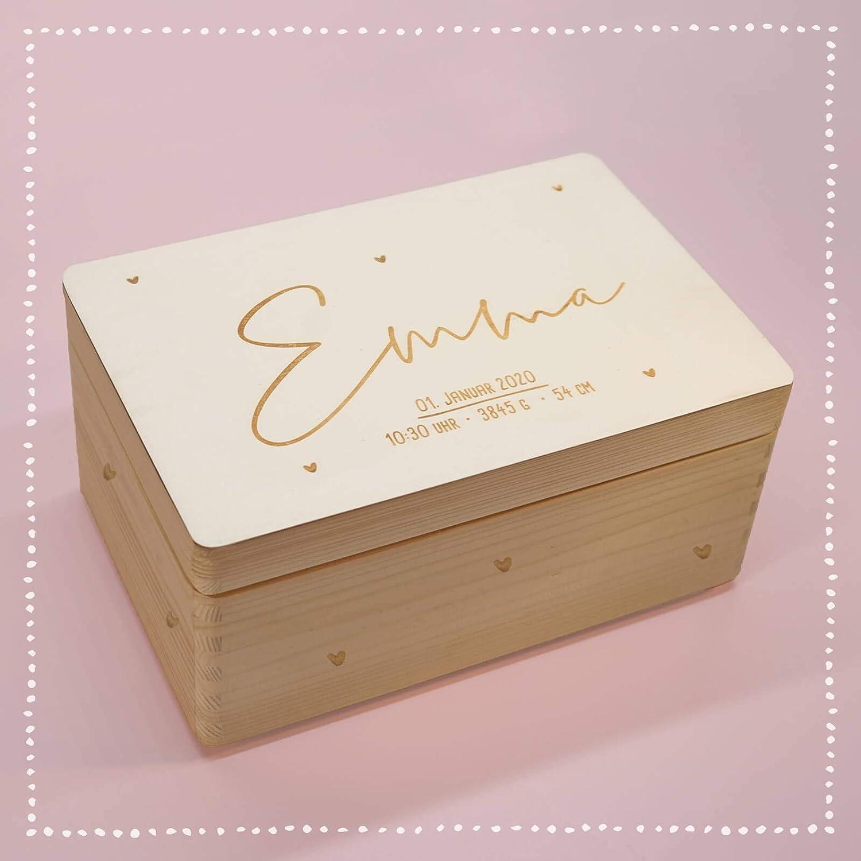 Personalisierte Erinnerungsbox Box Aufbewahrungsbox Erinnerungskiste mit Namen Holzkiste f/ür Kinder Geschenkbox Junge M/ädchen Herzkind Weihnachten Geburtstagsgeschenk Einschulung hellomini