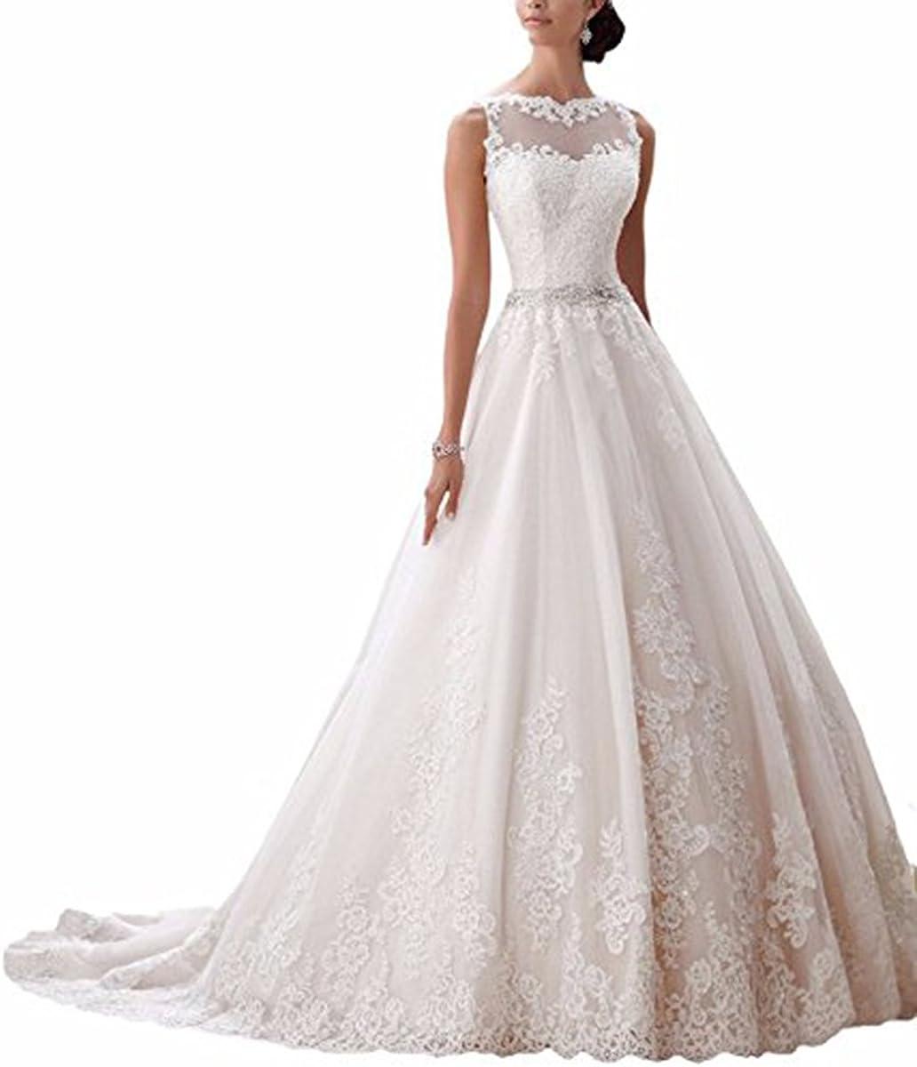 Ever Love Damen Abendkleider Elegant Abschlussballkleider Bandeau Kleid  Hochzeitskleid mit Stickerei Brautkleid