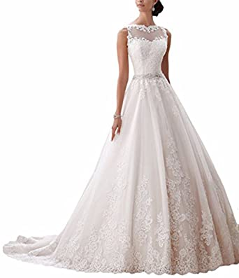 Ever Girl Women\'s Latest Sleeveless Lace Appliques Bridal Dress ...