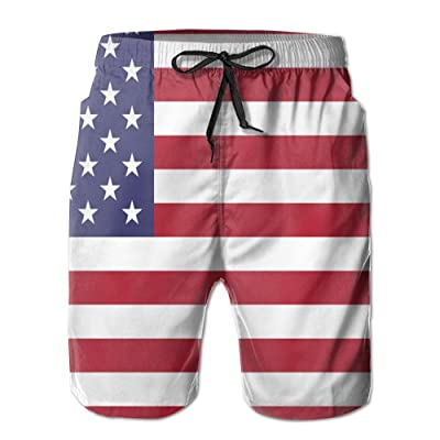 Chion Men's Quick 3D Printing Dry Beach Shorts Vintage American Flag Casual Shorts