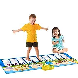 Tappeto musicale 53 pollici 10 tasti giganteschi tastiera musicale di dimensioni jumbo Playmat con registrazione riproduzione demo Demo Play apprendimento regolabile Vol Pieghevole Piano tastiera da t