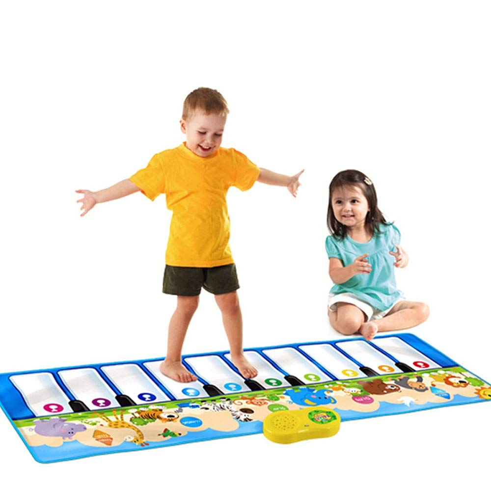 Play Keyboard Mat 53 Inches 10 Keys Giant Jumbo Sized Musical Keyboard Playmat With Record Playback Demo Play Learning Adjustable Vol Foldable Floor Keyboard Piano Dancing Activity Mat Step And Play I by GAOCAN-gq (Image #1)