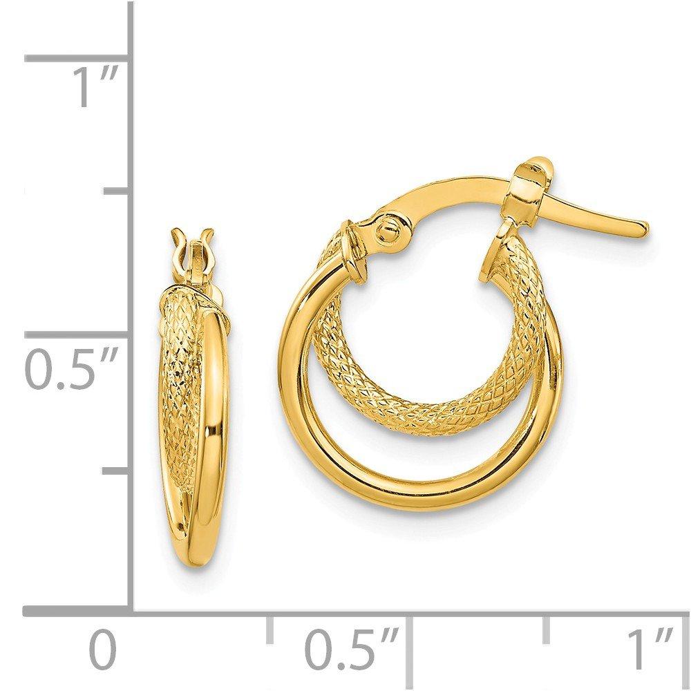 Mia Diamonds 14k Yellow Gold Polished and Textured Hinged Hoop Earrings