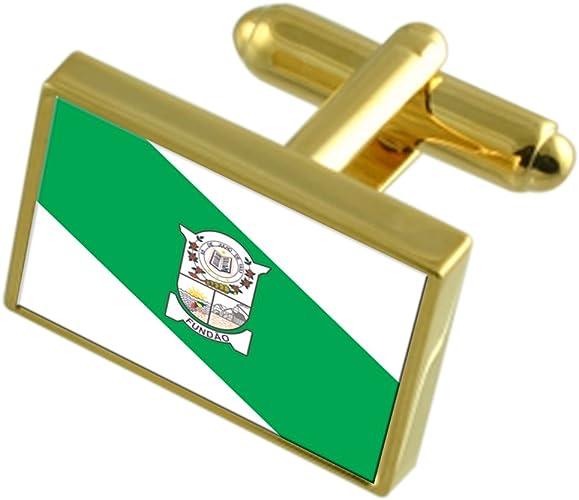 Fundao City Espirito Santo State Flag Cufflinks Engraved Box