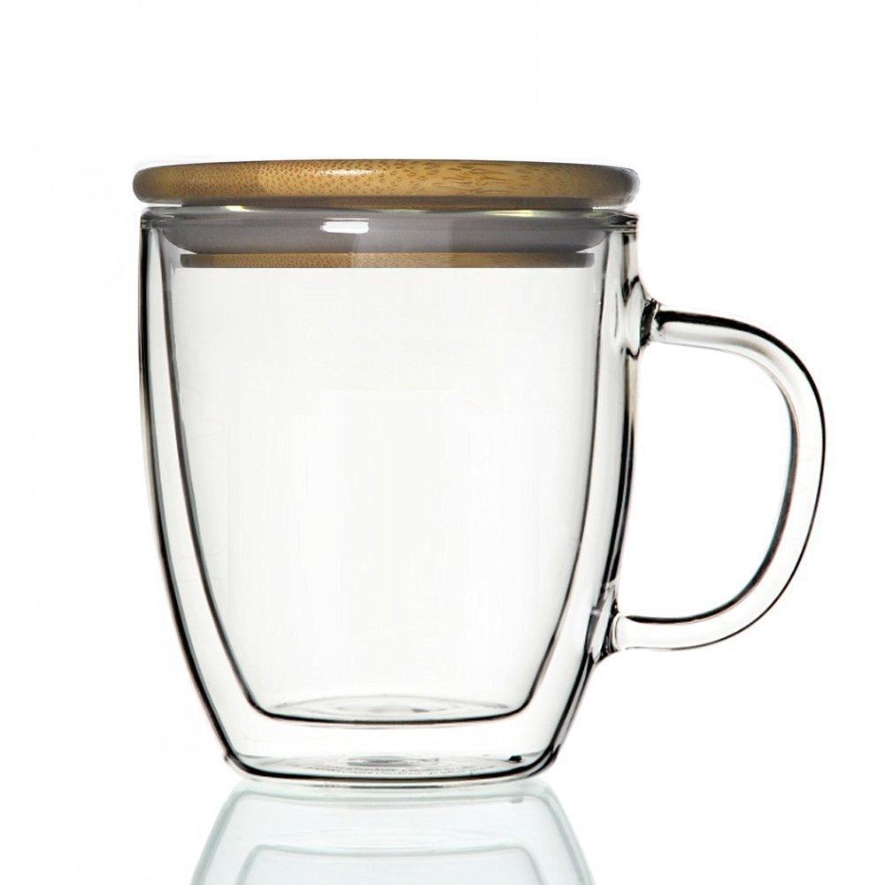 defancy 17 oz二重壁断熱ホウケイ酸サーモガラスコーヒーマグ 17オンス グリーン  ウッドキャップ付き B01N6T0QYO