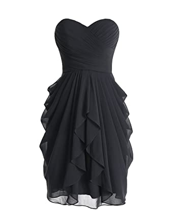 Wedtrend Womens Sweetheart Ruched Bridesmaid Dress Short Prom Gown WT10110BlackSize2