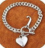 IVYRISE Charm 925 Jewelry Beautiful Silver Heart Pendant Big Chain Bracelet Bangle