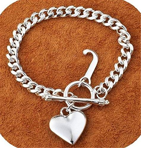 IVYRISE Charm 925 Jewelry Beautiful Silver Heart Pendant Big Chain Bracelet (Big Bangle)