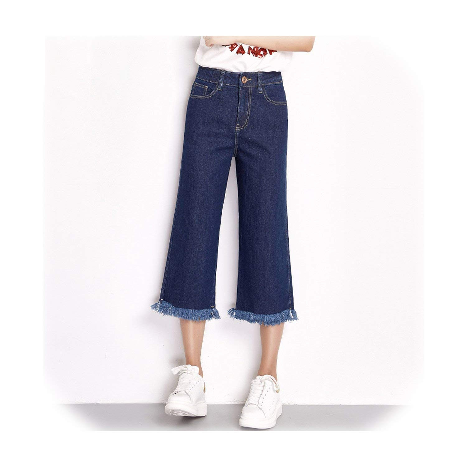 color Fairly Spring Plus Size Solid Tassel Comfortable High Waist Ankle Length Casual Loose Wide Leg Women Jeans