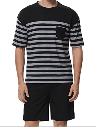 d4b053bbe38 Lasher Men s Summer Cotton Sleepwear Striped Pajama Set Knit Top with Shorts  Black S