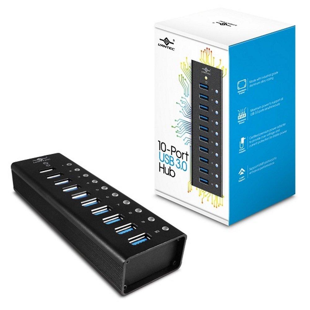 Vantec Aluminum 4-Port USB 3.0 Plus 3 Smart Charging Port Hub with Power Adapter (UGT-AH400U3-3C) Vantec USA