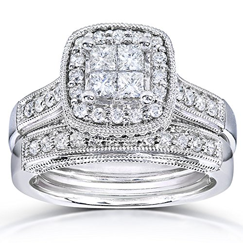 Princess Quad Diamond Bridal Ring Set 3/4 Carat (ctw) in 14k White Gold