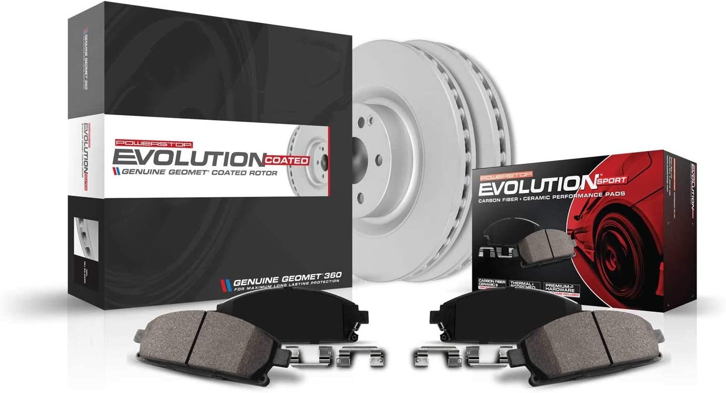 Power Stop CRK8472,Z23 Front Coated Rotor Kit-Coated Brake Rotors Carbon Ceramic Brake Pads