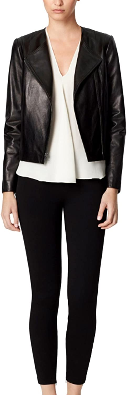 GLAMDUST Womens Pure 100/% Lambskin Leather Solid Biker Leather Jacket