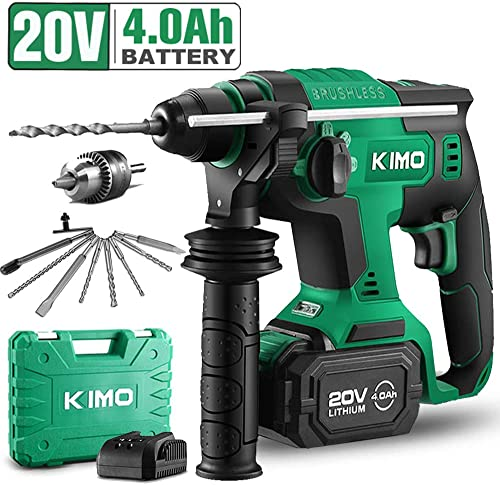 20V 1 Inch SDS Plus Rotary Hammer Drill, Brushless Cordless Demolition Hammer Kit w 4.0Ah Battery Charger, 3 Functions, Variable-Speed, Adjustable Handle, Drill Bits, Point Flat U-Groove Chisels