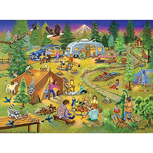 Bits and Pieces - 1000 Piece Jigsaw Puzzle for Adults - Camping with Grandma and Gramps - 1000 pc Americana Scene Jigsaw by Artist Sandy Rusinko