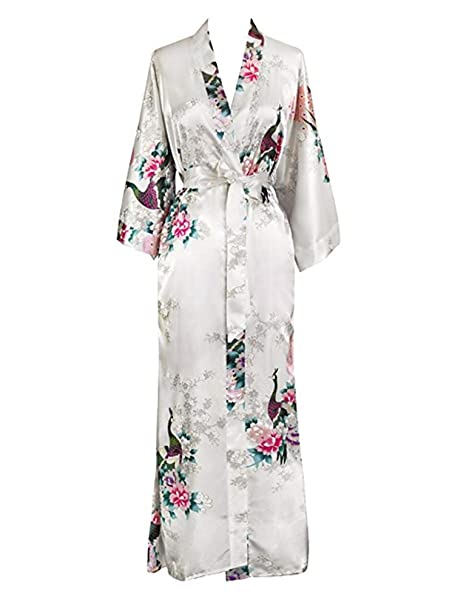 Reveryml Mujer Albornoces y Batas Kimono Largo para Mujeres Chinas - Peacock & Blossoms Diseñador Bata