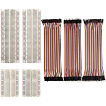Paxcoo 4 Pieces Breadboards Kit with 120 Pieces Jumper Wires for Arduino Proto Shield Circboard Prototyping