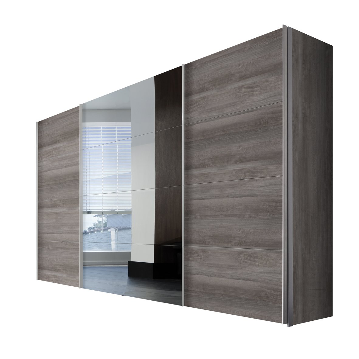 solutions 49850 635 schwebet renschrank 3 t rig korpus und front silber eiche spiegel. Black Bedroom Furniture Sets. Home Design Ideas