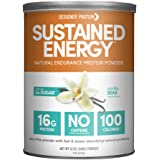 Designer Protein Sustained Energy Natural Endurance Protein, Vanilla Bean, 12 Oz, Made in the USA
