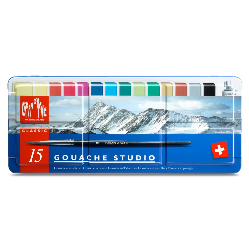 Caran d'Ache Gouache Studio 15 Assorted Colors Set in Metal Tin Cell Distributors 1000.315