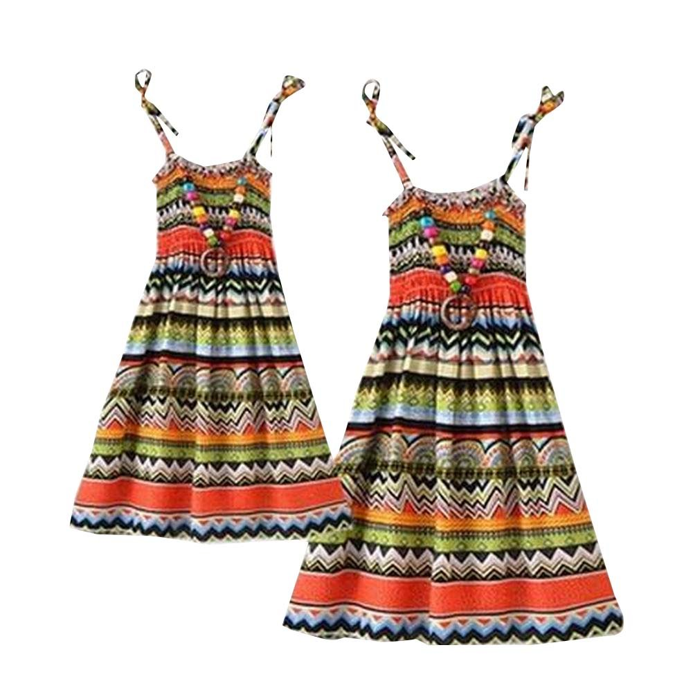 A Set of Sea Bohemia Style Family Dress for Mother&Daughter East Majik