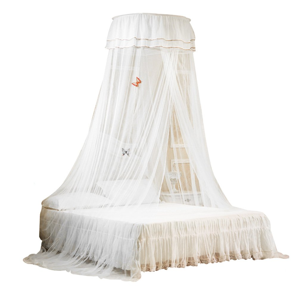 Uarter Boho Princess Mosquito Net, Bed Canopy Girls/Boys Mosquito Net Bed Conical Curtains Kids Play Tent with Stars or Luminous Butterflies for Kids, Installation-Free, Blue/White White