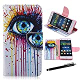 Huawei P8 Lite Case,P8 Lite Wallet Case - Colorful Eye of the World Watercolor Pattern PU Leather Wallet Case Stand Cover Card Slots for Huawei P8 Lite + CoolGiftCase Stylus