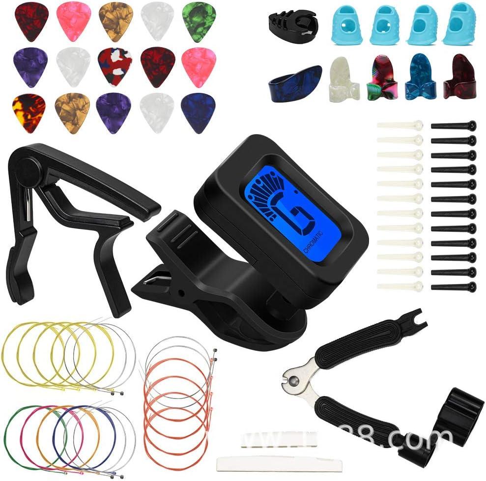 72 PCS Kit de Accesorios de Guitarra que Incluye Púas Para Guitarra,Capo,Afinador,Cuerdas para Guitarra Acústica,3 en 1 Cuerda de Cuerda,Pasadores de Puente,Protector de Dedos