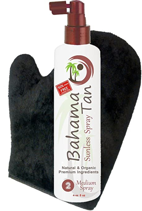 Organic Self Tanning Spray & Tanning Mitt with Thumb - Professional Salon Formula - Streak Free - Body & Face Sunless Tanner - for Fair, Medium, Dark & Sensitive Skin. Natural Spray Tan Kit Solution. Best Sunless Tanners
