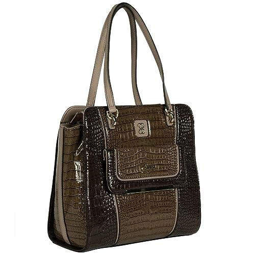 Guess - Bolso de tela para mujer marrón Mocha Multi (Braun)